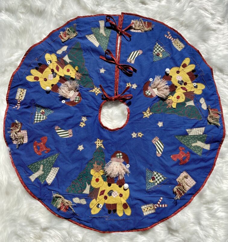 Christmas Tree Skirt Quilted 3D Santa Clause Reindeer Patchwork Farmhouse Button