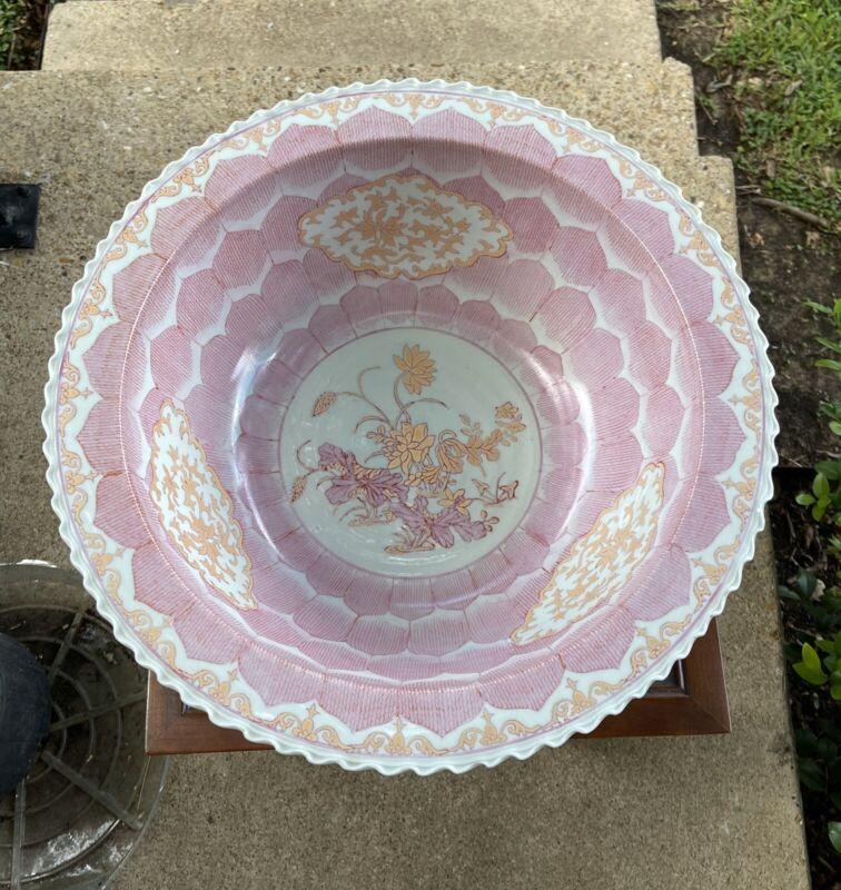 """Large 16"""" Chinese Pink Lotus Export Bowl"""