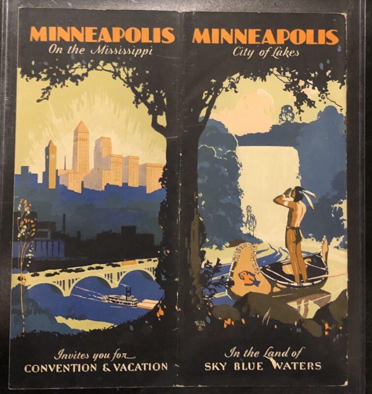 c.1920-1930 Minneapolis Minnesota Tourism / Vacation Brochure - Color - Art Deco