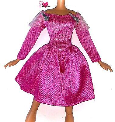 Barbie Dolls Vintage Clothes 90's Pink Cerise Dress