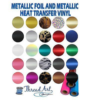 "METALLIC & FOIL HEAT TRANSFER VINYL BY THE YARD 20"" WIDE EASY WEED  - THREADART"