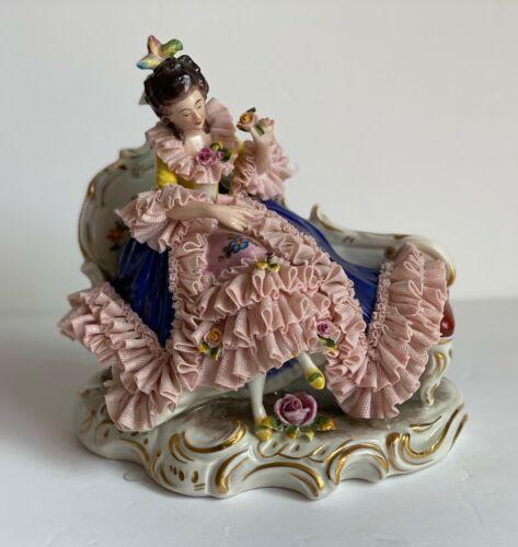 Antique German Dresden Lady in Blue Dress & Pink Lace porcelain