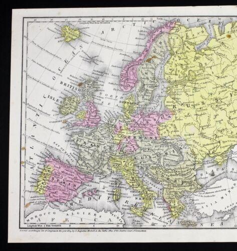1839 Europe Map Paris Spain Prussia Ireland England Russia Turkey Italy RARE