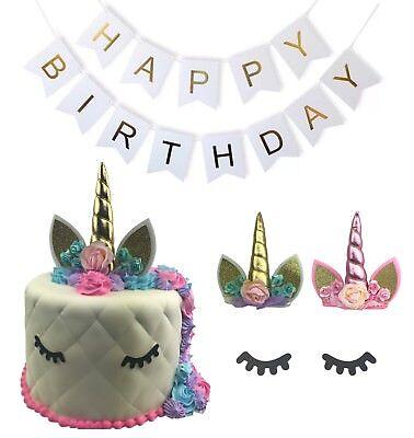 unicorn cake Topper Happy Birthday Banner party Edible Head eyelahes SET OF 3