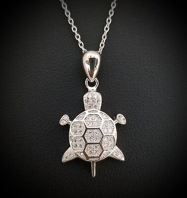 14k White Gold Sterling Silver Round Diamond Accents Turtle Pendant Necklace -