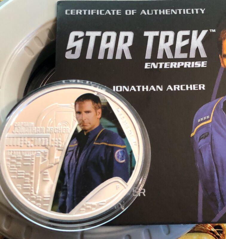 2015 The Star Trek Captain Jonathan Archer 1oz Silver Proof Coin!  W/ Box & COA