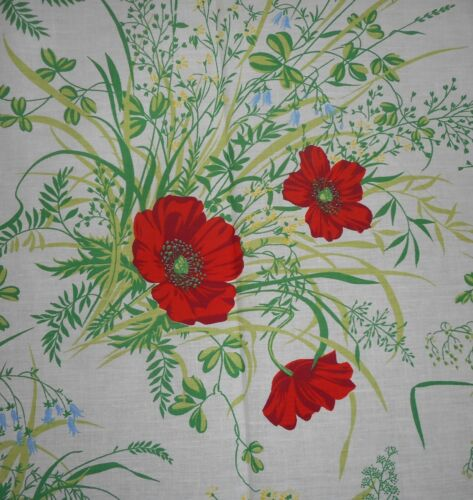 Vintage Retro Poppy Meadow Floral Cotton Fabric ~  Red Green White Blue