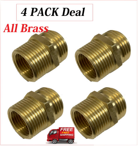 3/4 Male or 1/2 Female NPT Pipe to 3/4 Male Garden Hose GHT Thread Adapter  4 Pk