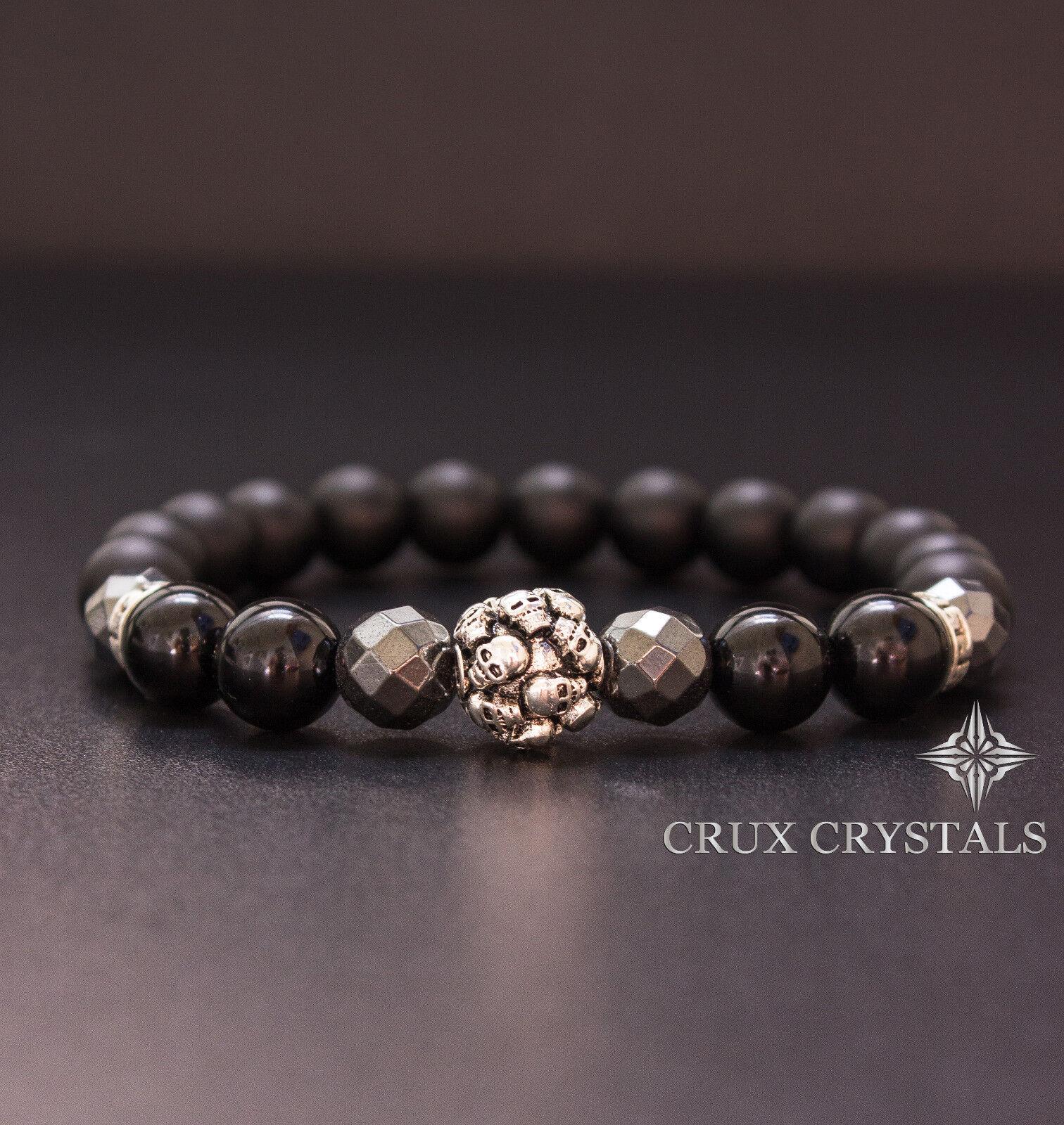 Men's Skull Bead Bracelet Matt Black Onyx & Hematite Gems...
