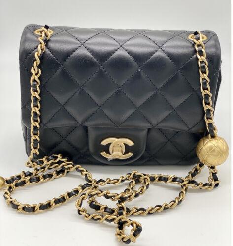 NWT 21C Chanel Classic Pearl Crush Lambskin Mini Square Flap Crossbody Bag Gold