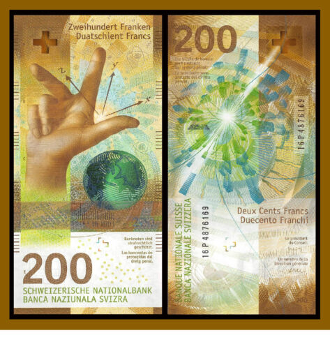 Switzerland 200 Francs, 2015 - 2018 P-New Hybrid Polymer Swiss National Bank Unc