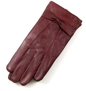 Ladies Soft Leather Coloured Fleece Lined Warm Winter Gloves with Bow S/M M/L