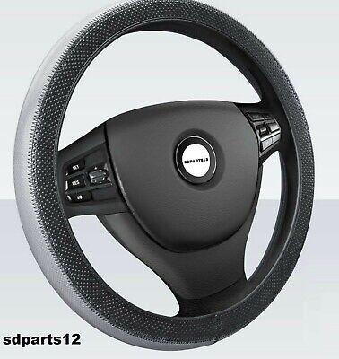 Coprivolante Ecopelle Grigio Nero Copri Sterzo per Fiat Lancia VW Diametro 37/38