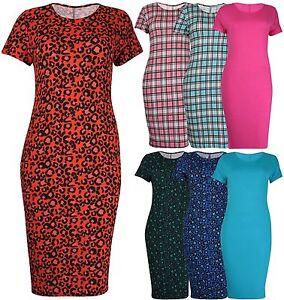 Womens-Leopard-Print-Ladies-Short-Sleeve-Stretch-Bodycon-Midi-Dress-Plus-Size