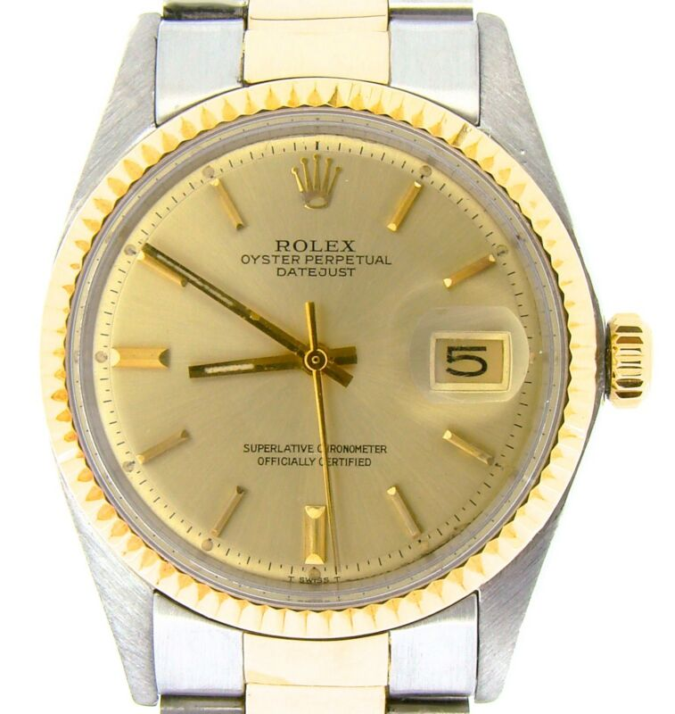 Rolex Datejust Mens 2tone Gold & Stainless Steel Oyster Fluted Champagne 1601