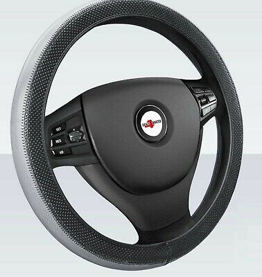 For Peugeot Citroen Soft Grip Grey/Black Leather Effect Car Steering Wheel Cover
