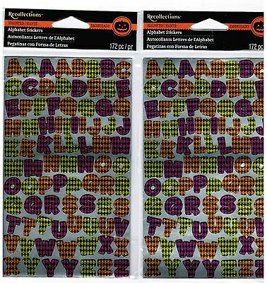 2 Packs Recollections Halloween Purple Green Orange ABC Alphabet Stickers (Halloween Abc)
