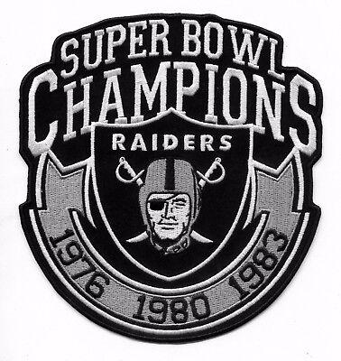 6  Oakland Raiders 3X Champions Iron On Raider Nation Jersey Patch