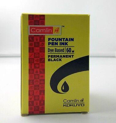 1 Camel Fountain Pen Ink PERMANENT BLACK Bottle 60 ml 2 oz Camlin Single Sealed