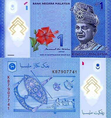 MALAYSIA 1 Ringgit Banknote World Money UNC Currency POLYMER Pick p-51b Rahman