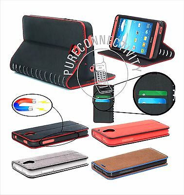 STYLISH LEATHER WALLET MEDIA STAND CASE COVER FOR SAMSUNG APPLE Free Screen prot Media Wallet Case
