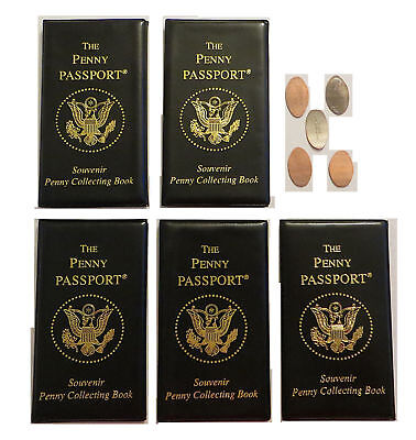 5-Pack Penny Passport Elongated Penny Album Book New with 5 FREE Pressed Pennies