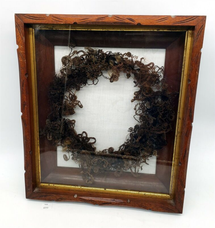 Thriftchi ~ Victorian Woven Hair Mourning Wreath In Shadow Box