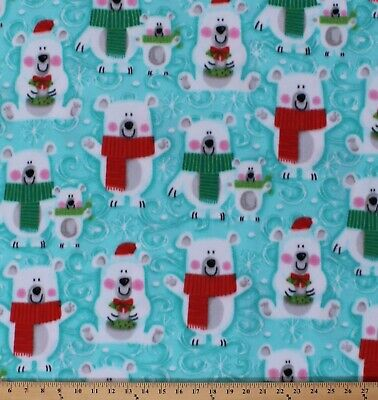 Fleece Polar Bears Winter Christmas Animals Blue Fleece Fabric Print BTY A224.07 ()
