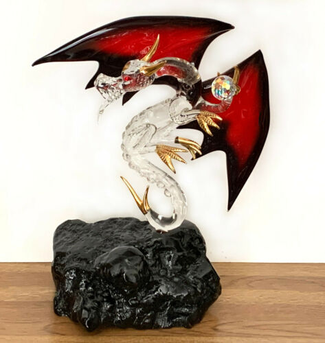 "Glass Baron Dragon figurine 10-1/2"" tall 22K gold trim crystals"