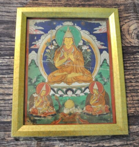 Framed Mongolian Tibetan Antique Thanka Thangka Large Painting Buddha Detailed