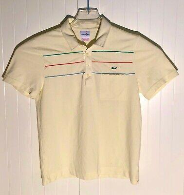 Lacoste Men's Polo Shirt Light Yellow Size 4 US M Short Sleeve