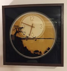 Vtg 70's GOTH Wall Clock Elgin Square Moon  Crows Large Wood + Glass