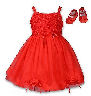 Kleid mit Schuhe Set Rot Rosa Elfenbein Lila 6 9 12 18 Monate (Mädchen Rosa Kleid Schuhe)