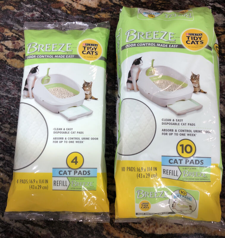Purina Tidy Cats Cat Pads, BREEZE Refill (1)10 Pack & (1) 4 Pack 14 PADS Total