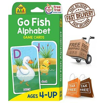 - School Zone Go Fish Alphabet Game Cards Animal Flash Cards