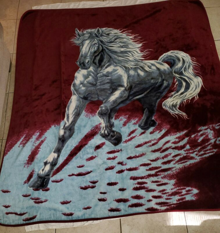 "SAN MARCO galloping horses maroon and blue Vintage blanket LARGE""92×""76"