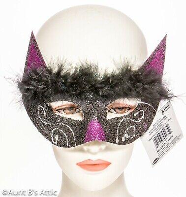Purp Glitter & Marabou Fancy Kitty Cat Eye Mask (Mardi Grad Maske)