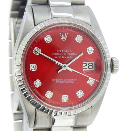Rolex Datejust 1603 Mens Stainless Steel Watch Red Diamond Dial Engine-turned