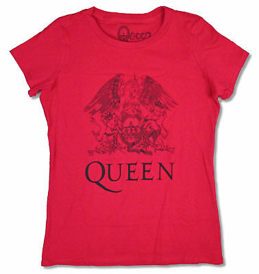 Queen Classic Crest Girls Juniors Red T Shirt New Official Band -