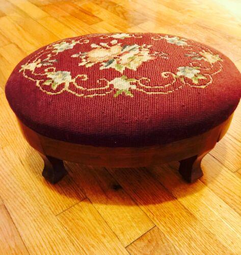 Handcrafted Needlepoint Mahogany Wood Darling Oval Footstool Ottoman