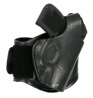 - TAGUA Black Leather Fleece-Lined Ankle Holster Right Hand Draw - Choose Your Gun