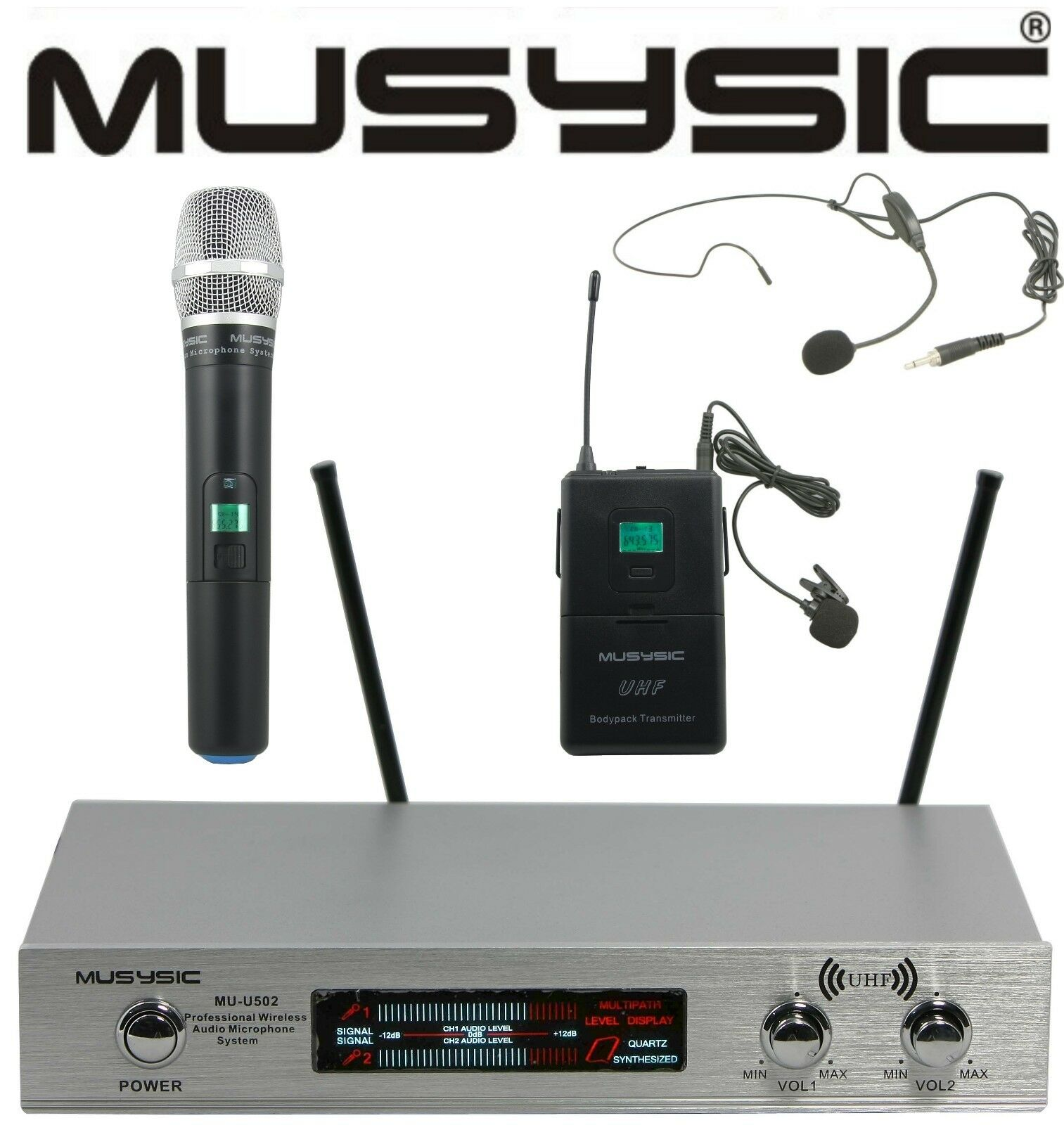 musysic dual channel uhf wireless microphone system w handheld lapel headset. Black Bedroom Furniture Sets. Home Design Ideas