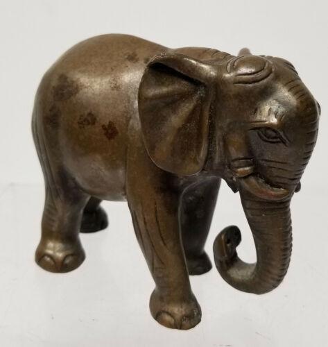 Antique Indian Cast Bronze Elephant Figure Statue Paperweight