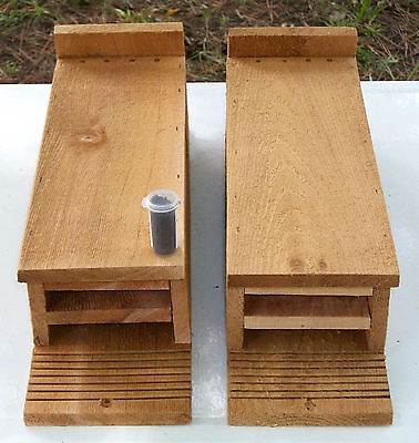 Twin Pack 3 Chamber Handcrafted Bat House box  Pest & Mosquito Control with Lure