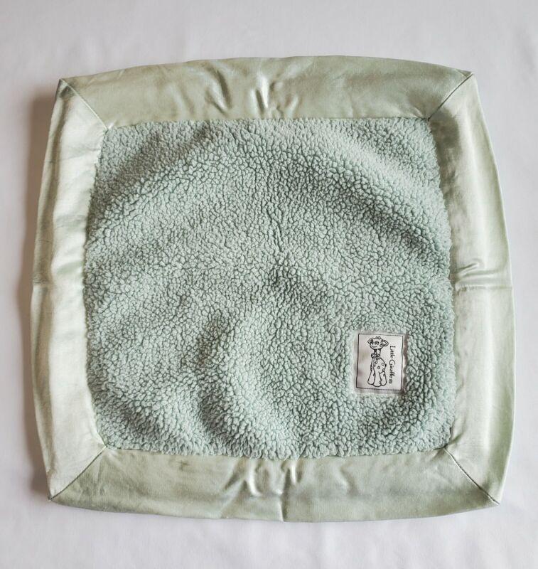 "Little Giraffe Light Green Chenille Baby Security Blanket Satin Trim 15"" x 15"""
