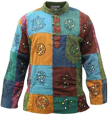 Mens Colorful Patchwork Grandad Style Shirts Festival Hippie Tops (Hipster Style Mens)