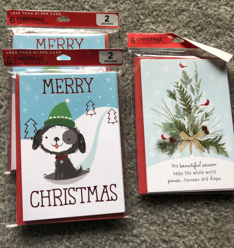 Hallmark Multipack Christmas Card Lot 18 Total Cards Puppies Dogs Happy Holidays