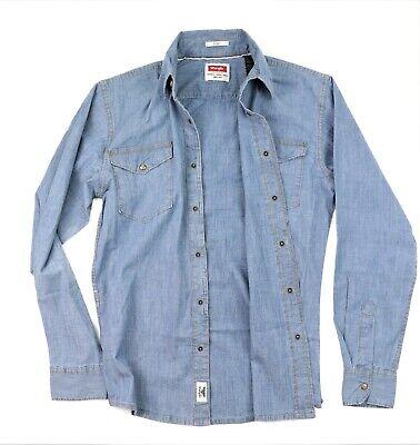 Indigo Mens Shirt - New Wrangler Long Sleeve Denim Shirt Bleached Indigo Slim Fit Men's Sizes S-3XL