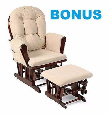 Glider with BONUS Ottoman Cherry Finish and Beige Cushions Baby Rocking Chair