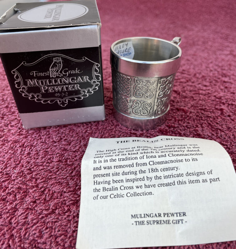 Mullingar Pewter Celtic Whiskey Measure Cup Made in Ireland *New with Box